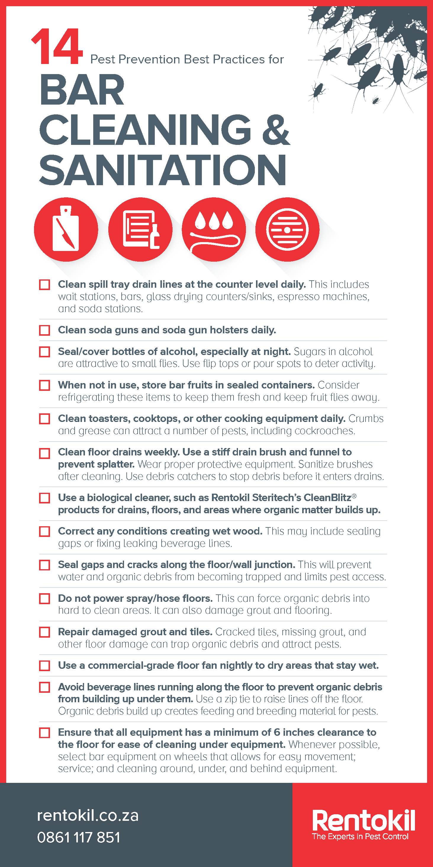 Pest Prevention Poster - 14 Best Practices for Bar Cleaning and Sanitation