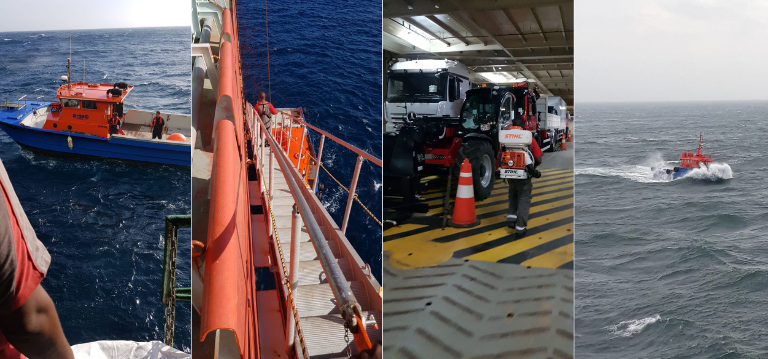 Fumigation and pest control services performed on a ship by Rentokil team
