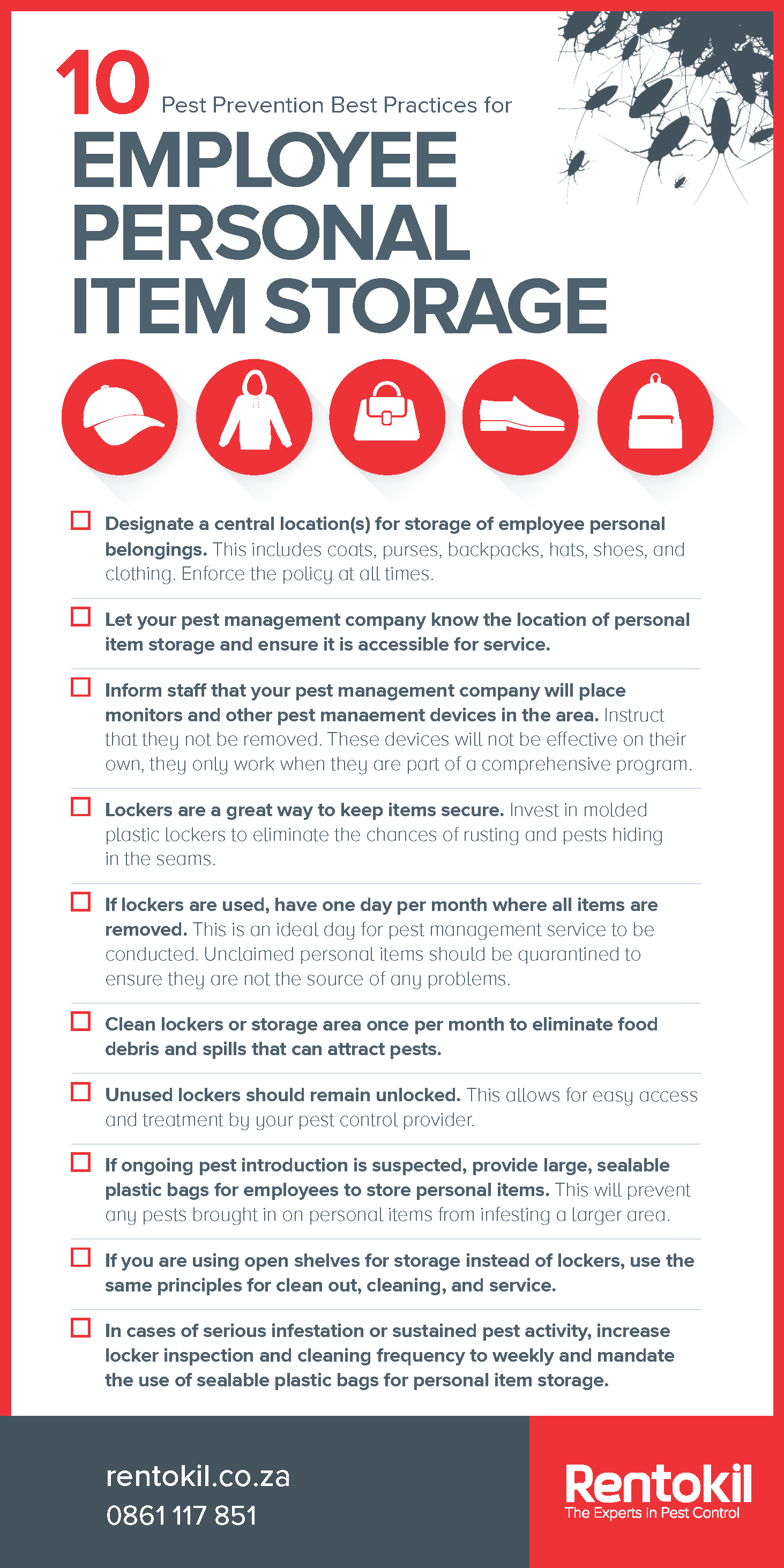 Pest Prevention Checklist Poster - 10 Best Practices for Employee Personal Item Storage