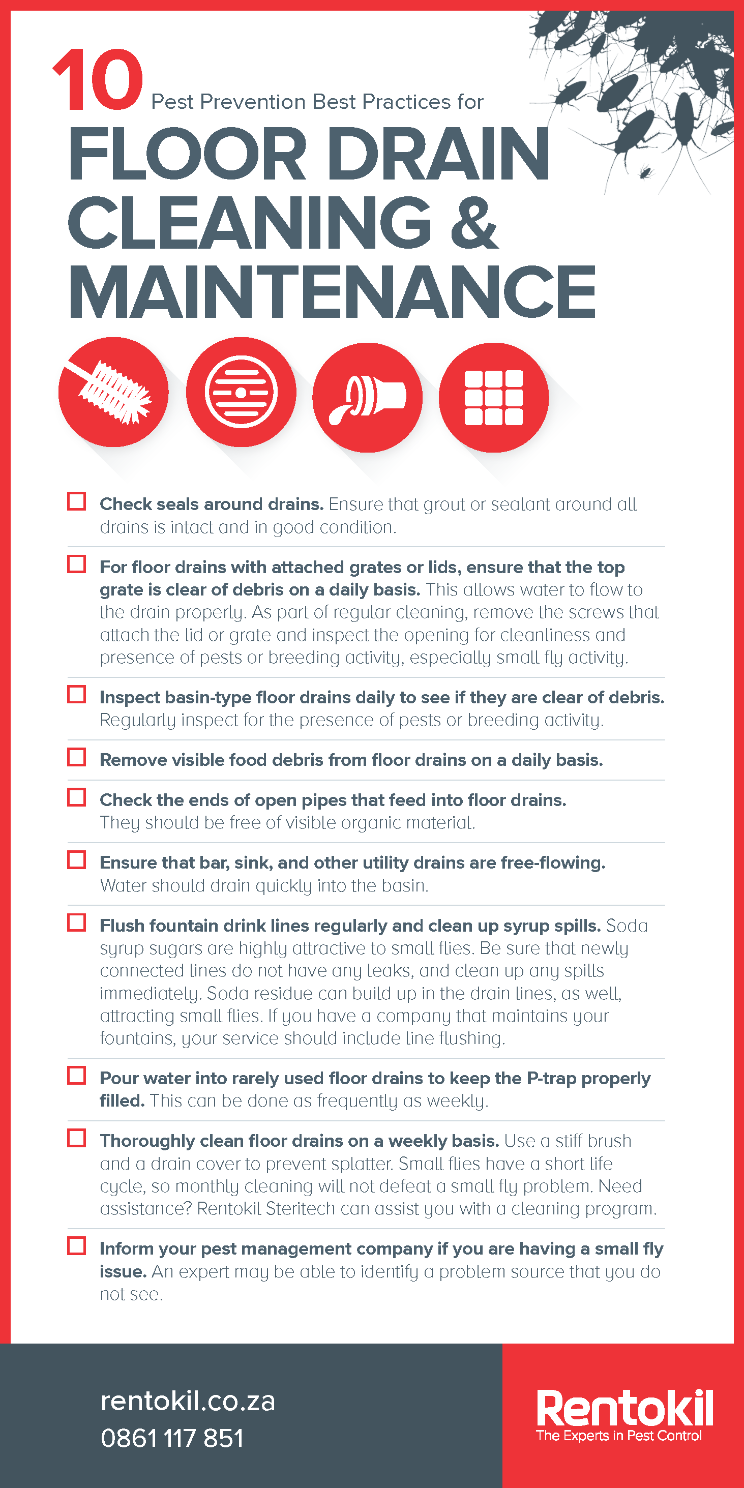 Pest Prevention Poster - 10 Best Practices for Floor Drain Cleaning and Maintenance