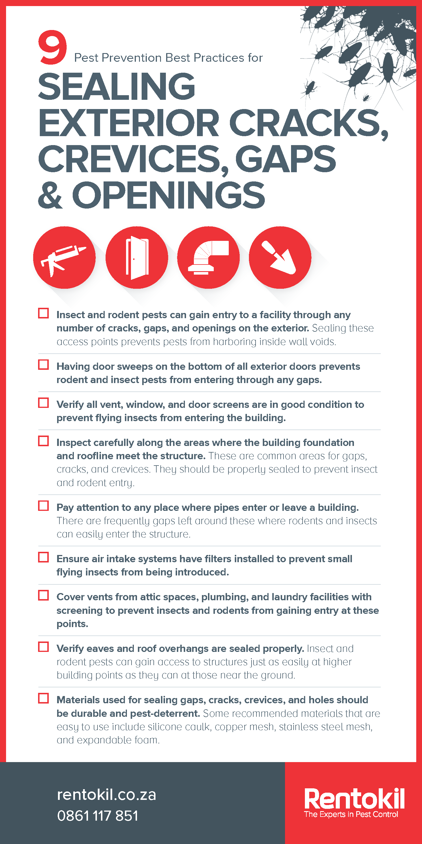 9 of the most important pest prevention best practice tips related to proofing in your building