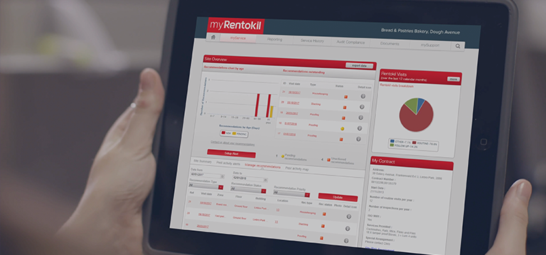 online pest control management with myRentokil real-time online pest auditing system